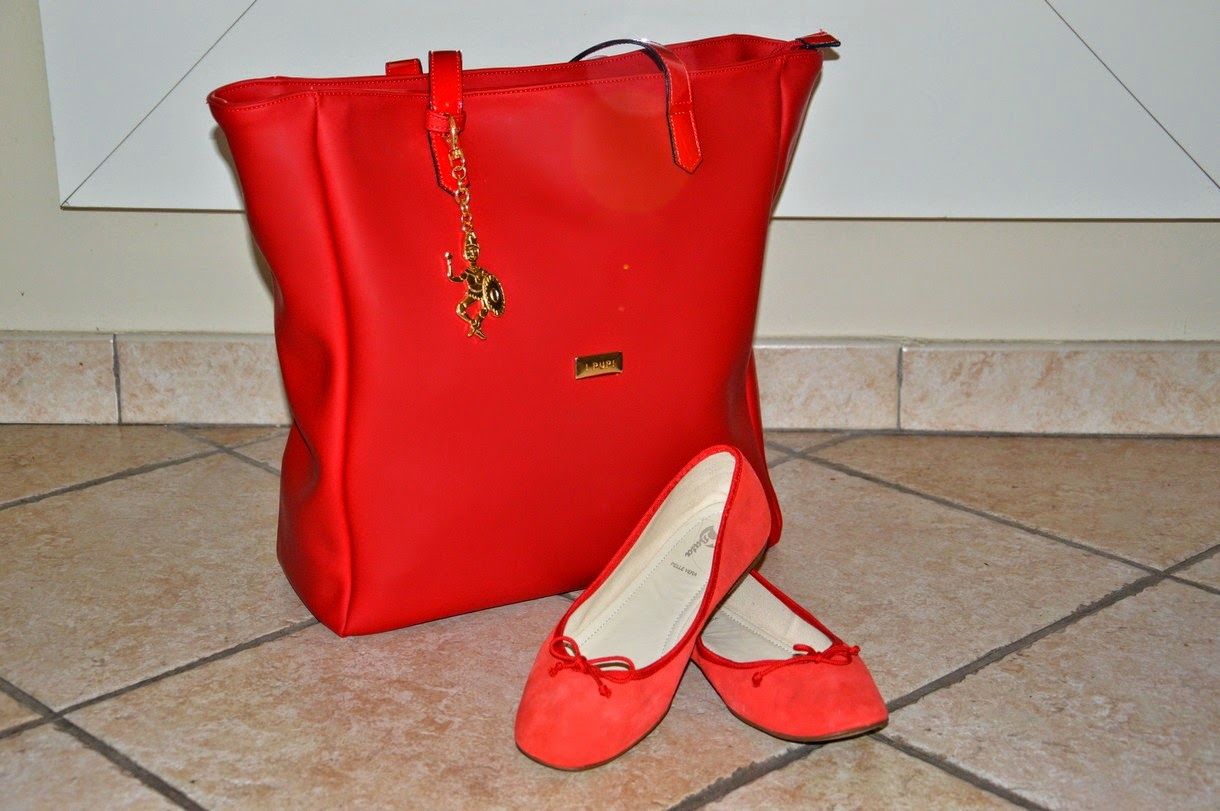 I PUPI, la mia scelta 100% made in Italy, borsa shopping CUSTO rossa