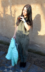Military style, mud colour jumpsuit - tuta color fango