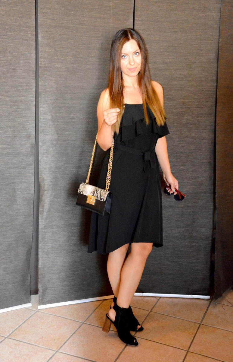 Vestito nero con i volant a strati ZAFUL spaghetti straps black dress