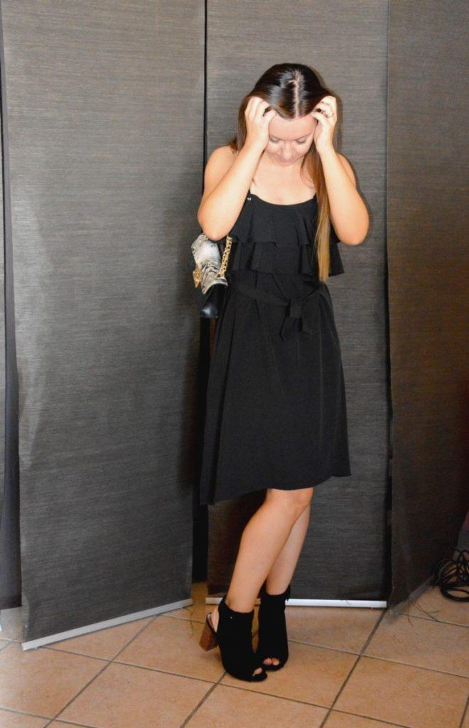 Vestito nero con i volant a strati ZAFUL spaghetti straps black dress