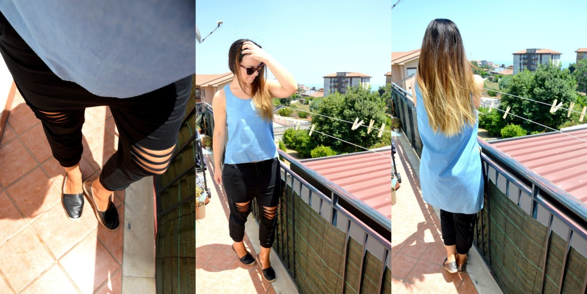 Outfit pantaloni alla turca, stile harem con gli spacchi e la veste denim