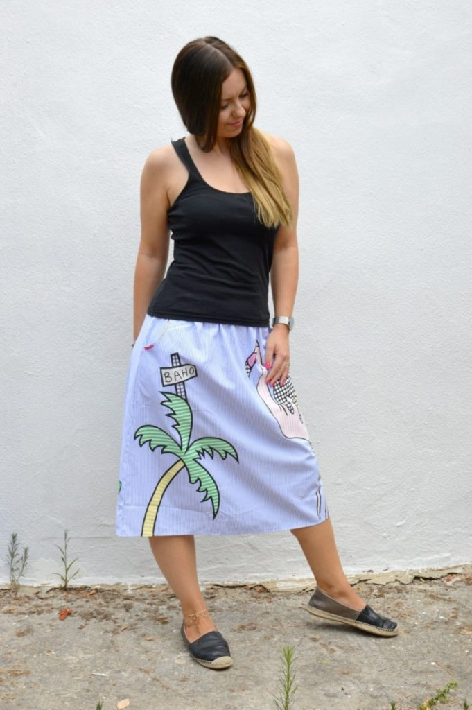 La gonna a righe, motivo del flamingo - Elastic Waist Pinstrip A Line Skirt