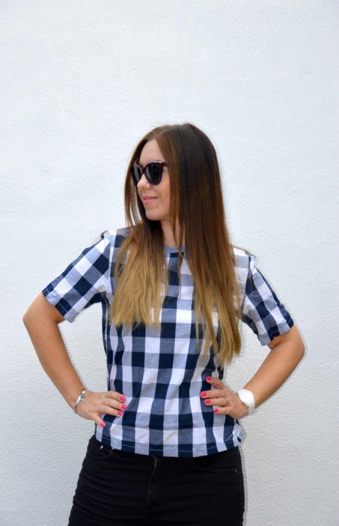 T-shirt a scacchi Romwe - White Royal Blue Check Round Neck T-shirt