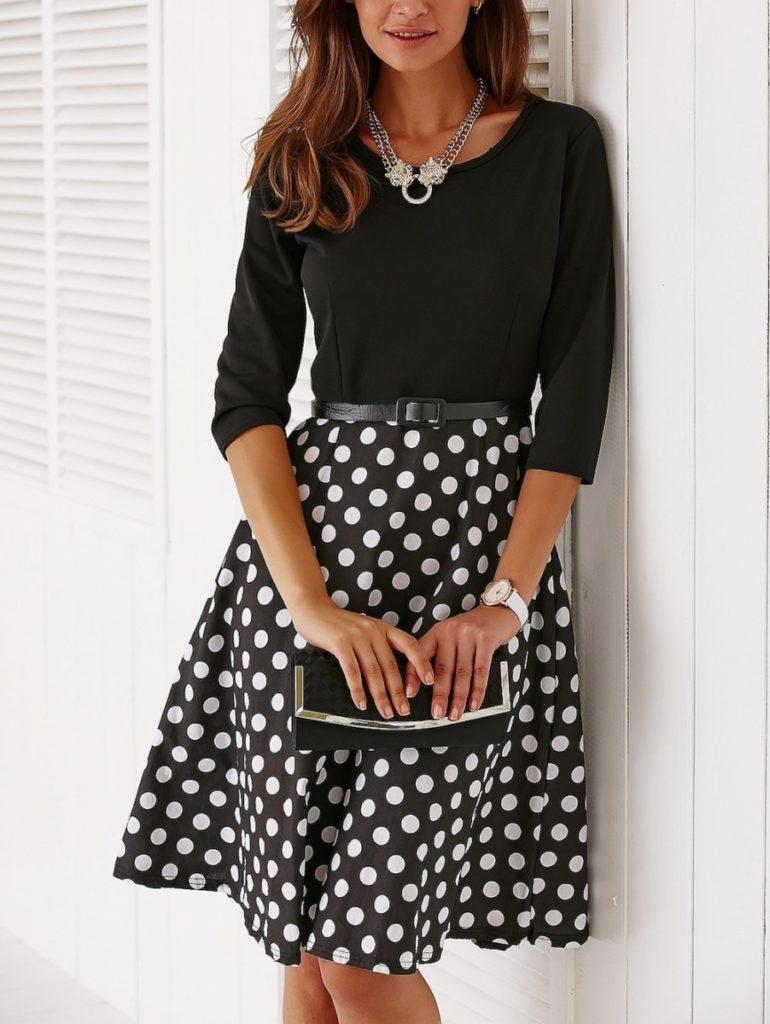 Dresslily polka dots dresses online - vestiti a pois anni 50