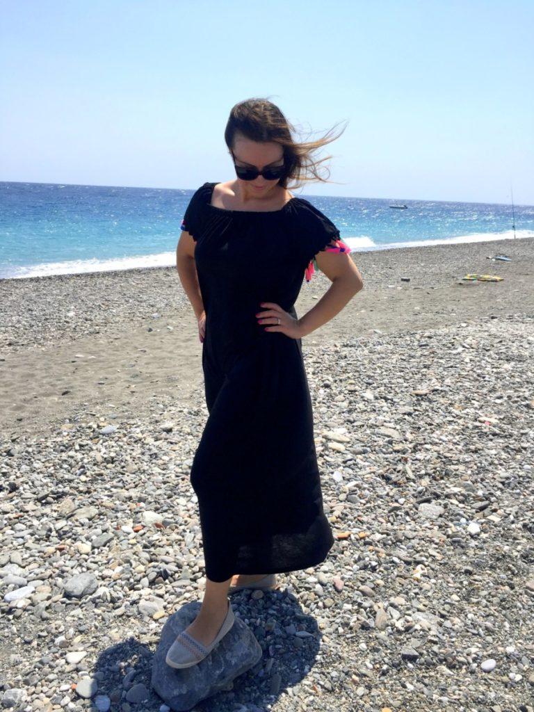 Black off the shoulder tassel trim dress Shein.com - vestito a spalle scoperte